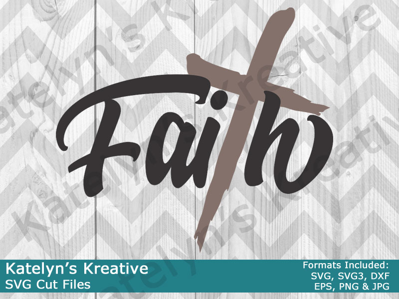 Faith Text With Cross Svg Files
