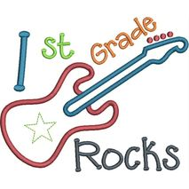 1st Grade Rocks Applique Snap Shot