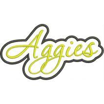 Aggies Applique Script Satin Snap Shot