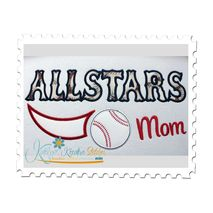 Allstars Baseball Mom Applique