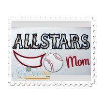 Allstars Baseball Mom Applique
