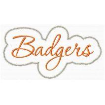Badgers Applique Script Zig Zag Snap Shot