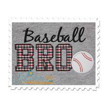 Baseball BRO Applique  Vintage Zig Zag