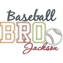 Baseball BRO Applique Vintage Snap Shot (Jackson text is not included with this design.)