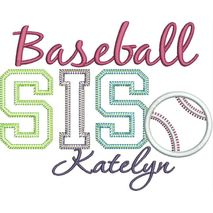 Baseball SIS Vintage Applique Snap Shot  (Katelyn text is not included with this design.)