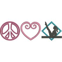 Peace Love and Gymnastics Applique Snap Shot