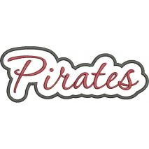 Pirates Applique Script Satin Snap Shot