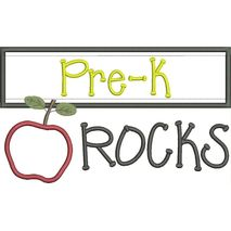 Pre K Rocks Chalkboard Applique Snap Shot
