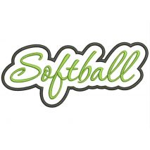 Softball Applique Script Satin Snap Shot