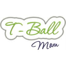 T-Ball Mom Applique Script Zig Zag Snap Shot