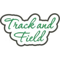 Track and Field Applique Script Satin Snap Shot
