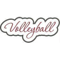 Volleyball Applique Script Satin Snap Shot