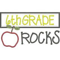 6th Grade Rocks Chalkboard Applique Snap Shot