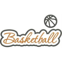 Basketball Applique Script Satin Snap Shot