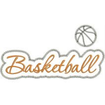 Basketball Applique Script Zig Zag Snap Shot