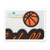 Basketball Applique Script Satin Close Up