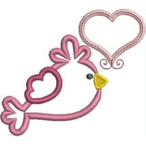 Bird with Heart Applique Snap Shot (4x4)