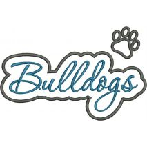 Bulldogs Applique Script Satin Snap Shot