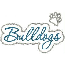 Bulldogs Applique Script Zig Zag Snap Shot