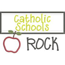 Catholic Schools Rock Chalkboard Applique Snap Shot