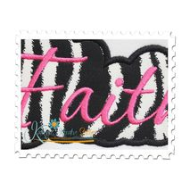 Faith Applique Script Satin Close Up