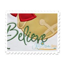 Believe Jingle Bell Applique Close Up