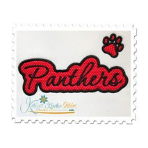 Panthers Applique Script Satin