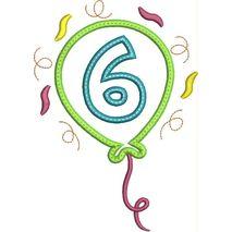 Party Balloon Applique Number Set #6 Snap Shot