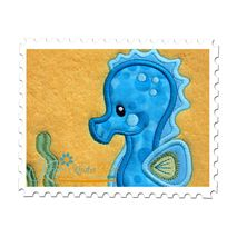 Seahorse Boy Applique on a Beach Towel
