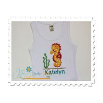Seahorse Girl Applique on a Ribbed Tank Top