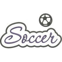 Soccer Applique Script Satin Snap Shot