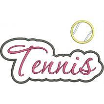 Tennis Applique Script Satin Snap Shot