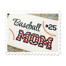 Baseball MOM Applique (Numbers not included)