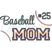 Baseball MOM Applique Snap Shot (Numbers not included)