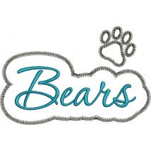 Bear Applique Script with Paw Zig Zag Snap Shot