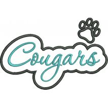 Cougars Applique Script Satin Snap Shot