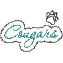 Cougars Applique Script Zig Zag Snap Shot
