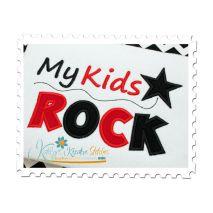My Kids Rock Applique Close Up