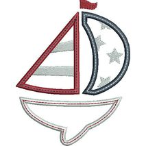 Patriotic Sail Boat Applique Snap Shot