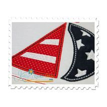 Patriotic Sail Boat Applique Close Up