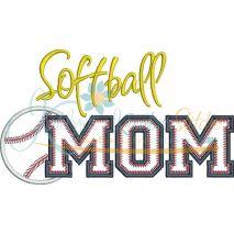 Softball MOM Applique Snap Shot