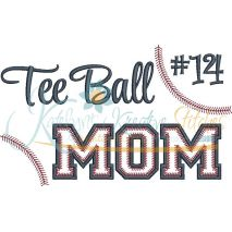 Tee Ball MOM Applique Snap Shot (Numbers not included)