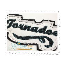 Tornadoes Distressed Applique Close Up