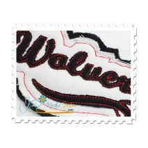 Wolverines Distressed Applique Close Up