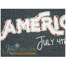 American Text Distressed Applique Close Up