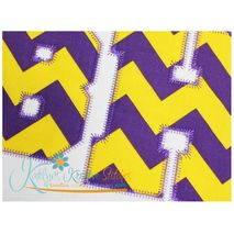 Athletic Applique Zig Zag Font Close Up