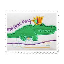 Mardi Gras King Gator Applique Close Up