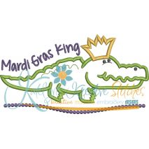 Mardi Gras King Gator Applique Snap Shot