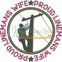 Proud Linemans Wife Applique Circle Snap Shot