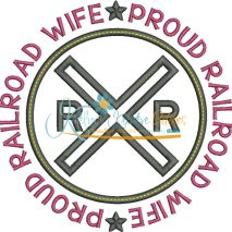 Proud Railroad Wife Applique Circle Snap Shot